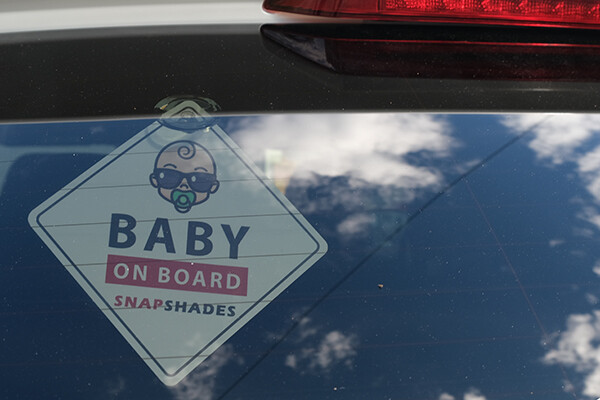 Baby on Board Sign outside Volvo XC60